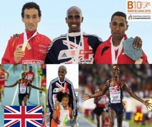 puzzel Mo Farah kampioen 5000m, Jezus Spanje en Hayle Ibrahimov (2e en 3e) van het Europees Kampioenschap Atletiek 2010 in Barcelona