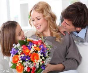 puzzel Moeder ontvangen van een boeket van bloemen