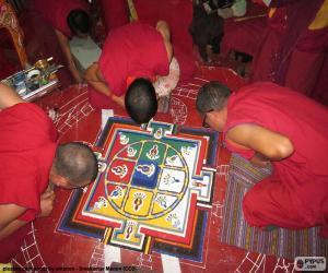 puzzel Monniken maken van een mandala