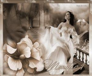 puzzel Mooie prinses met haar geliefde prins dacht