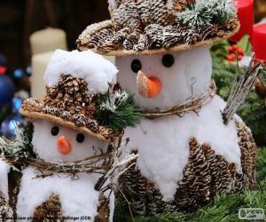 puzzel Mooie sneeuwmannen
