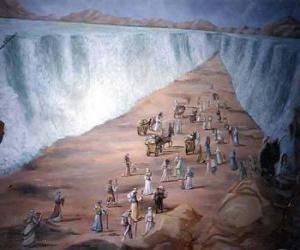 puzzel Mozes verdelen de wateren van de Rode Zee in de uittocht van het Joodse volk