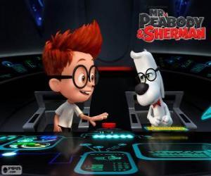 puzzel Mr. Peabody en Sherman in zijn tijd machine