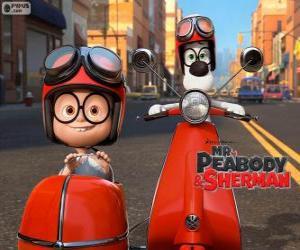 puzzel Mr. Peabody en Sherman op de motorfiets met zijspan