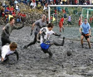 puzzel Mud Olympische Spelen, of Wattolumpiad, strijden in de moerassen van de rivier de Elbe
