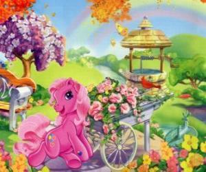 puzzel My little pony omgeven door bloemen