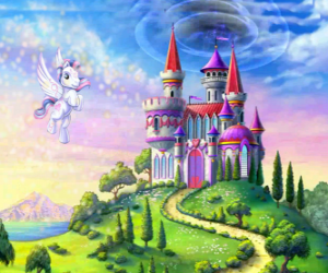 puzzel My Little Pony vliegen in de buurt van een kasteel