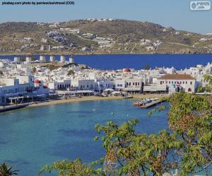 puzzel Mykonos-stad, Griekenland