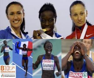 puzzel Myriam Soumare kampioen in 200 m, en Alexandra Bryzhina Yelizabeta Fedora (2e en 3e) van het Europees Kampioenschap Atletiek 2010 in Barcelona
