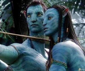 puzzel Na'vi avatar von Jake en Neytiri klaar om een pijl te starten
