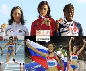 puzzel Natalia Antiuj kampioen 400 m horden, Vania Stambolova en een trilsignaal-Drayton Perri (2e en 3e) van het Europees Kampioenschap Atletiek 2010 in Barcelona