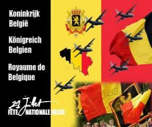 puzzel Nationale feestdag van België wordt gevierd op 21 juli. In 1831 de eerste Belgische koning zwoer trouw aan de Grondwet