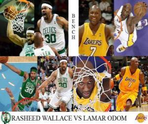 puzzel NBA Finals 2009-10, Bench, Rasheed Wallace (Celtics) vs Lamar Odom (Lakers)