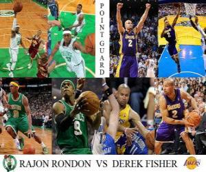 puzzel NBA Finals 2009-10, Point Guard, Rajon Rondon (Celtics) vs Derek Fisher (Lakers)