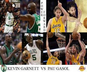 puzzel NBA Finals 2009-10, Power Forward Kevin Garnett (Celtics) vs Pau Gasol (Lakers)