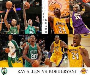 puzzel NBA Finals 2009-10, shooting guard Ray Allen (Celtics) vs Kobe Bryant (Lakers)