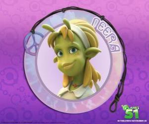 puzzel Neera is de typische meisje, slimme, mooie groene huid met enkele aantrekkelijke antennes op zijn voorhoofd
