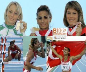 puzzel Nevin Yanit kampioen op de 100m horden, Derval O'Rourke en Carolin Nytra (2e en 3e) van het Europees Kampioenschap Atletiek 2010 in Barcelona