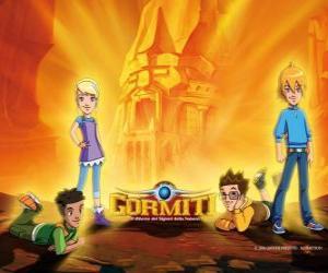 puzzel Nick, Toby, Lucas en Jessica, vier vrienden, die worden de heren van de natuur te redden Gorm
