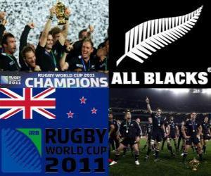 puzzel Nieuw-Zeelandse rugby wereldkampioen. Wereldkampioenschap rugby 2011