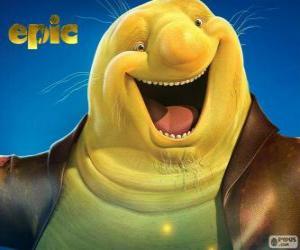 puzzel Nim Galuu, een goed verlicht worm, de houder van de magische rollen