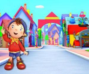 puzzel Noddy is een kind gemaakt van hout dat in een klein huis woont in Toyland, de stad van speelgoed