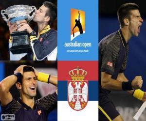 puzzel Novak Đoković Open Kampioen van Australië 2013