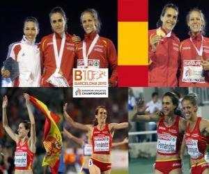 puzzel Nuria Fernandez kampioen op 1500 meter, Hind Dehiba en Natalia Rodriguez (2e en 3e) van het Europees Kampioenschap Atletiek 2010 in Barcelona