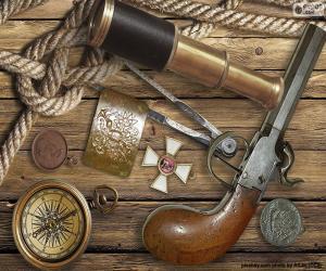 puzzel Objecten uit een oude ontdekkingsreiziger