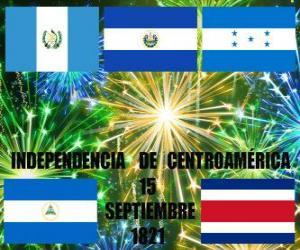 puzzel Onafhankelijkheid van Midden-Amerika, 15 september 1821. Herdenking van de onafhankelijkheid van Spanje in de moderne landen van Guatemala, Honduras, El Salvador, Nicaragua en Costa Rica