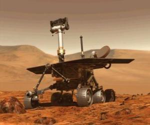 puzzel Onbemande ruimte voertuig van onderzoek op het maanoppervlak