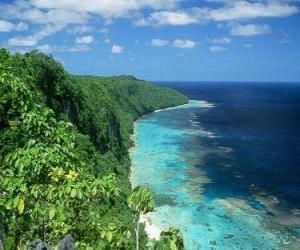 puzzel Oost Rennell is het koraal atol van's werelds grootste hoog. Salomonseilanden.