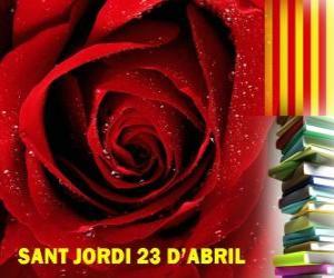 puzzel Op 23 april, St George's Day gevierd in Catalonië, het Festival van het Boek en de roos