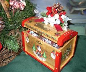 puzzel Op de borst versierd met kerst thema's