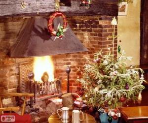 puzzel Open haard rustiek ingericht voor Kerstmis