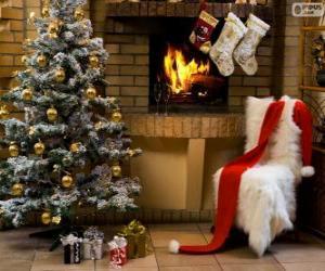 puzzel Open haard versierd voor Kerstmis