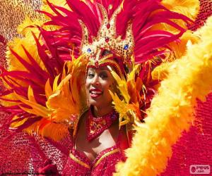 puzzel Oranje carnaval jurk