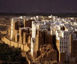 puzzel Oude ommuurde stad Shibam, Jemen.