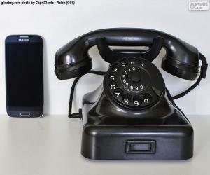 puzzel Oude telefoon versus mobiel