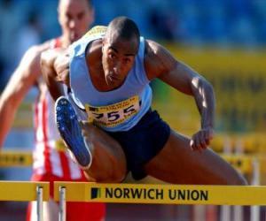 puzzel Overschrijding van de horden atlete