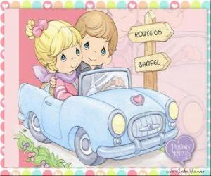 puzzel Paar in auto