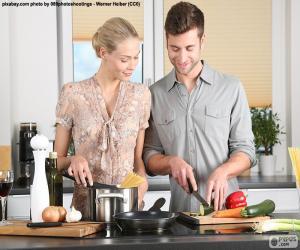puzzel Paar in de keuken