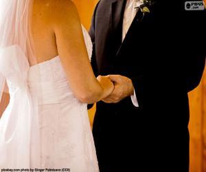 puzzel Paar op hun bruiloft