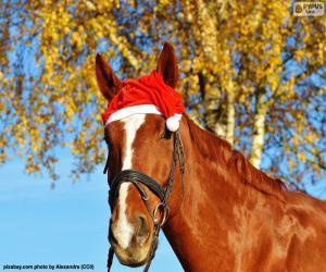 puzzel Paard met kerstman hoed