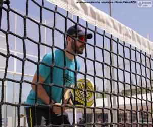 puzzel Paddle tennisspeler in het net