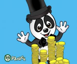 puzzel Panda erg blij kijken vele munten Panfu