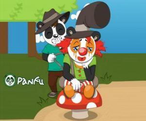 puzzel Panfu clown zittend op een paddestoel, terwijl een ander vervelend panda