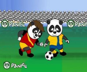 puzzel Panfu panda's voetballen