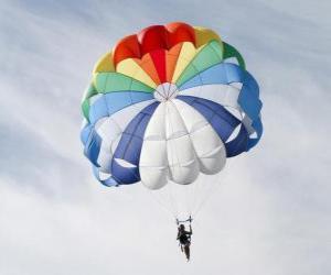 puzzel Parachutist naar beneden door de wolken in een parachute  of valscherm na het springen uit een vliegtuig