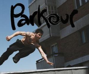 puzzel Parkour is een manier van conditionering van het lichaam en de geest door te leren hoe om obstakels te overwinnen met de snelheid en efficiëntie